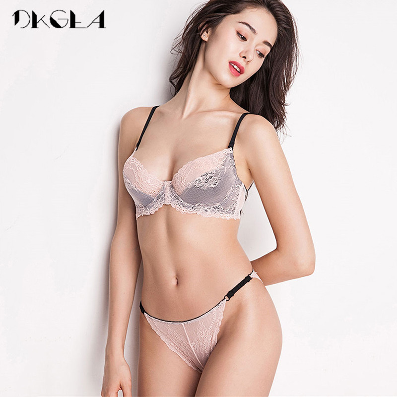 New France Pink Bra Panties Sets Embroidery Brassiere Women Lingerie Set White Ultrathin Lace Underwear Sexy Bra Set Transparent