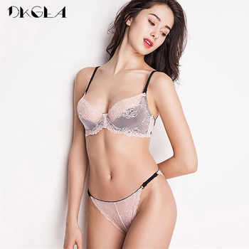 New France Pink Bra Panties Sets Embroidery Brassiere Women Lingerie Set White Ultrathin Lace Underwear Sexy Bra Set Transparent - DISCOUNT ITEM  50% OFF All Category