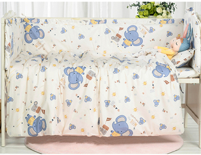 7PCS full Set Newborn Cotton Crib Bedding Set Baby Cot Protector Safe Bumpers Baby Duvet Pillow ,(4bumper+sheet+duvet +pillow) цена