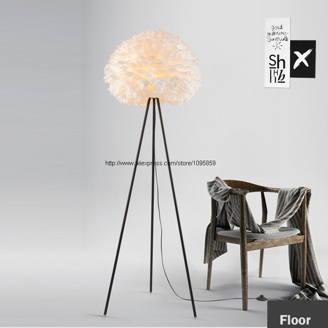 Modern simple style tripod feather ball floor lamp bedroom living room stand floor light lighting