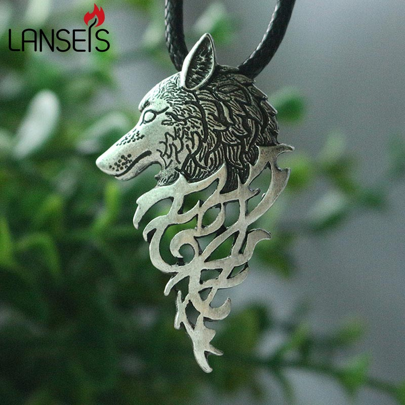 lanseis 1st dropshipping hot sell viking wolf män halsband celt wolf head hänge Mode smycken Supernatural Amulet