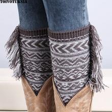 Women Leg Warmers Bohemian Style Winter KneeHigh Wool Socks Classic 6 Colors for