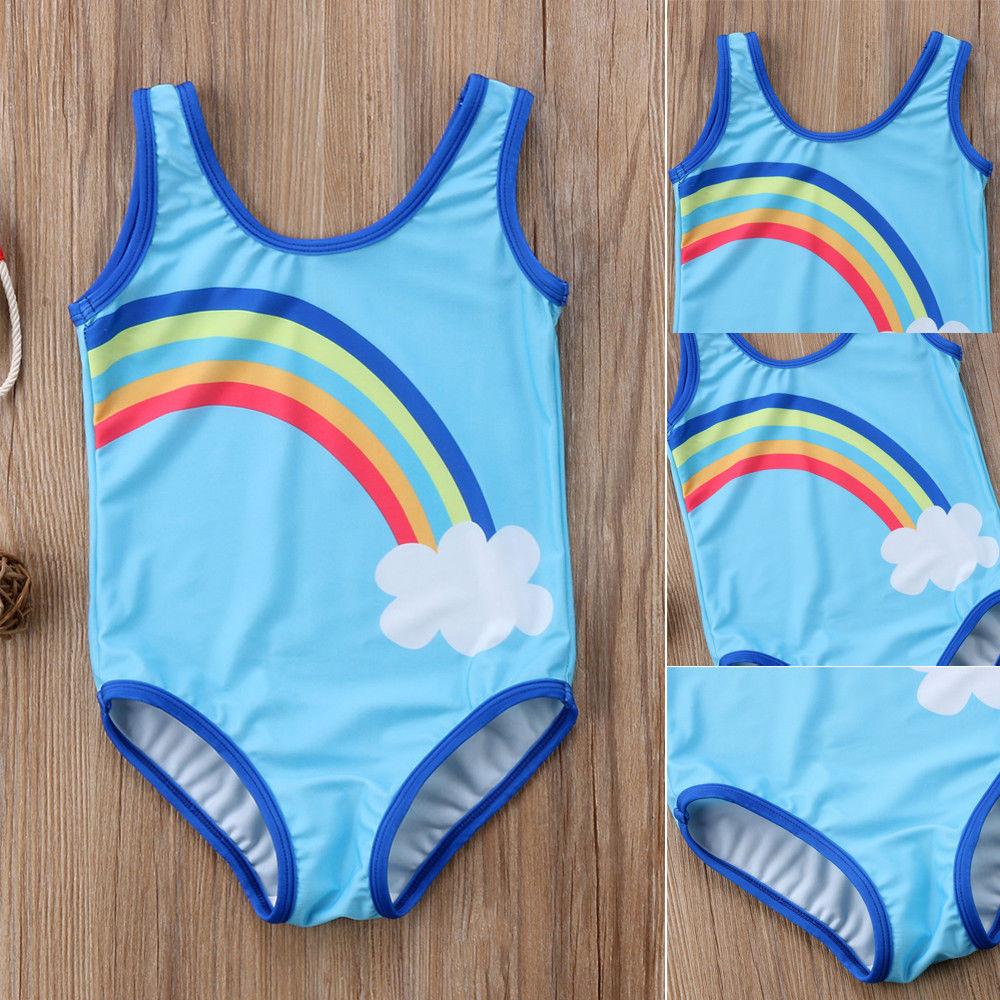 Blau Sky Regenbogen Baby Mädchen Bademode 1-6 T Alter Baby Ein Stück Badeanzug Kinder Mädchen Bikini Monokini Strand Schwimmen Badeanzug Durchsichtig In Sicht Schwimmen Kinder Einteiler