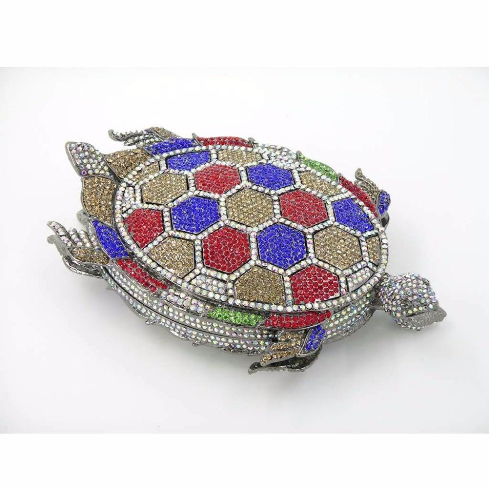ФОТО TURTLE color-A Crystal Lady fashion Party Night Metal Evening purse clutch bag handbag box  case