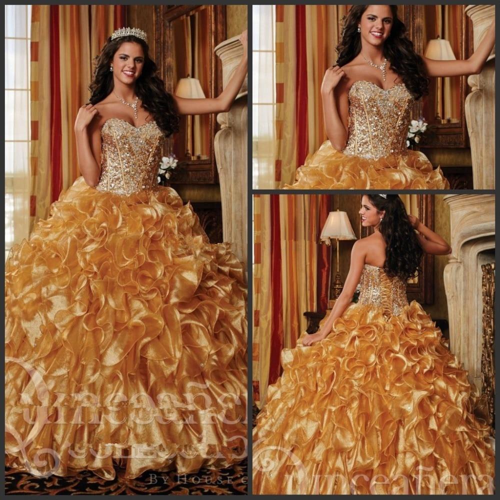 Vestidos De Gold Quinceanera Debutante Gowns Sweetheart Crystal Beaded Ruffles Vestidos De 15 Anos Sweet Sixteen