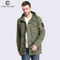 CITY CLASS 2018 Mens 100% Cotton Jackets and Coats Casual Loose Washed Windbreakers Multi-colors Hooded with Drawstring 3796