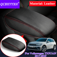 Car Armrest Cover For Volkswagen Tiguan 2017 2019 Car styling Internal Leather Car Armrest Pad Cover Storage Protection Cushion