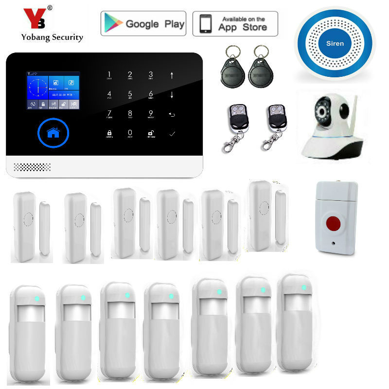 Yobang Security wireless wifi gsm alarm system TFT display door sensor home security alarm systems wireless Siren Kit  gsm alarm systems kit remote control voice prompt wireless door sensor lcd display siren kit security alarm for home office