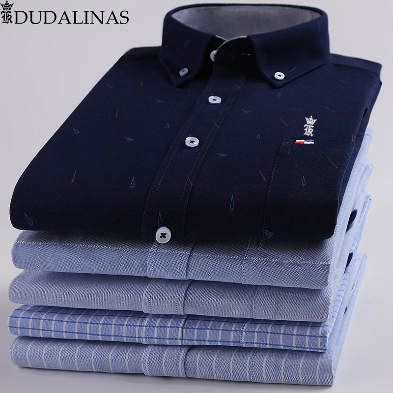 Dudalinas Shirts Men 100% Cotton Oxford Sergio K Men Dress Shirt Casual Long Sleeved Camisa Masculina Social Chemise Homme