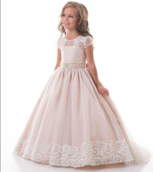 Sheer Lace Flower Girl Dress for Wedding Pink Lace Tulle O-Neck With Bow Sash Girls Communion Gown CUSTOM MADE Any Size