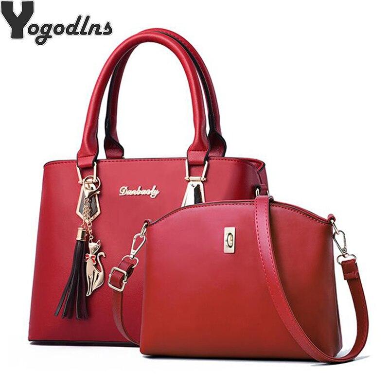 Hot Brand Women Composite Bag Hotsale Party Purse Ladies Messenger Crossbody Shoulder Set Bags Tassels Kitten Ornament