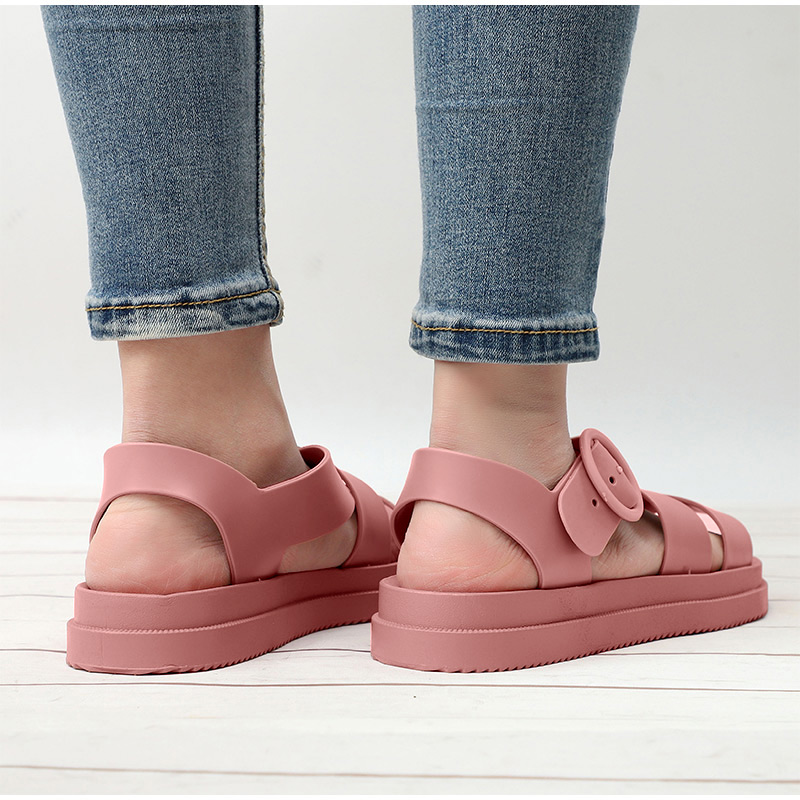 HTB1OdsoX21H3KVjSZFBq6zSMXXaW MCCKLE Flat Sandals Women Shoes Gladiator Open Toe Buckle Soft Jelly Sandals Female Casual Women's Flat Platform Beach Shoes