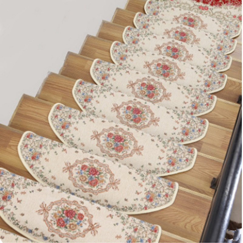 13-Pieces Stair Carpet Sets Slip Resistance Stair Tread Mats Step Rug For Stair 24X74cm Fit For 25cm Width Stair