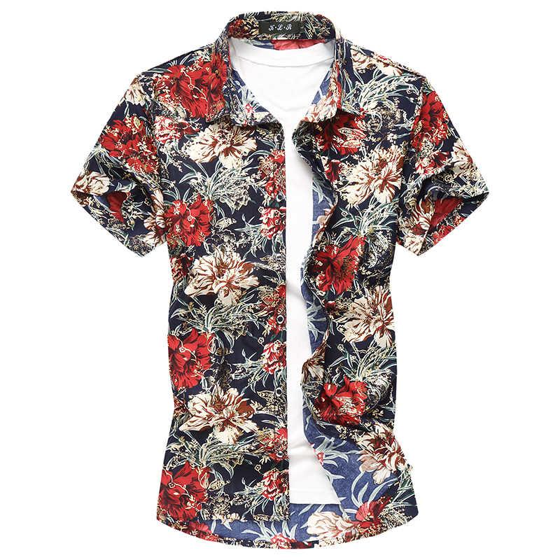 MOGU повседневные рубашки с коротким рукавом для мужчин 2018 модные Гавайские рубашки с цветочным принтом Slim Fit Новые Золотые рубашки с принтом Большие размеры 5XL7XL