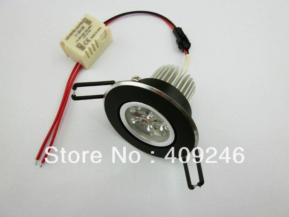 Черный корпус яркий светодиодный потолочный светильник mini 3x1 Вт светодиодный светильник, лампа Подпушка встраиваемый светильник AC85 ~ 265 В ...