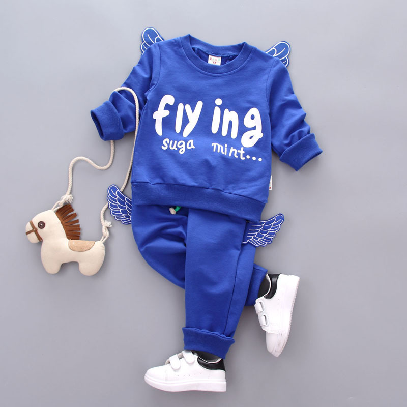 2017 New Fashion Boys Girls Children Set with Angle Wings Children Clothing Autumn Winter Kids Tracksuit Baby School Costume 2017 new boys clothing set camouflage 3 9t boy sports suits kids clothes suit cotton boys tracksuit teenage costume long sleeve
