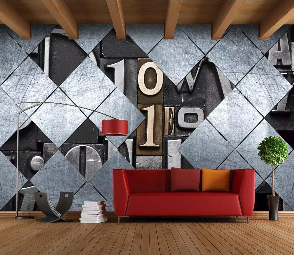 100% QualitäT Kommerziellen Tapete Retro Industriellen Wind 3d Alphabet Hintergrund Wand Aromatischer Geschmack