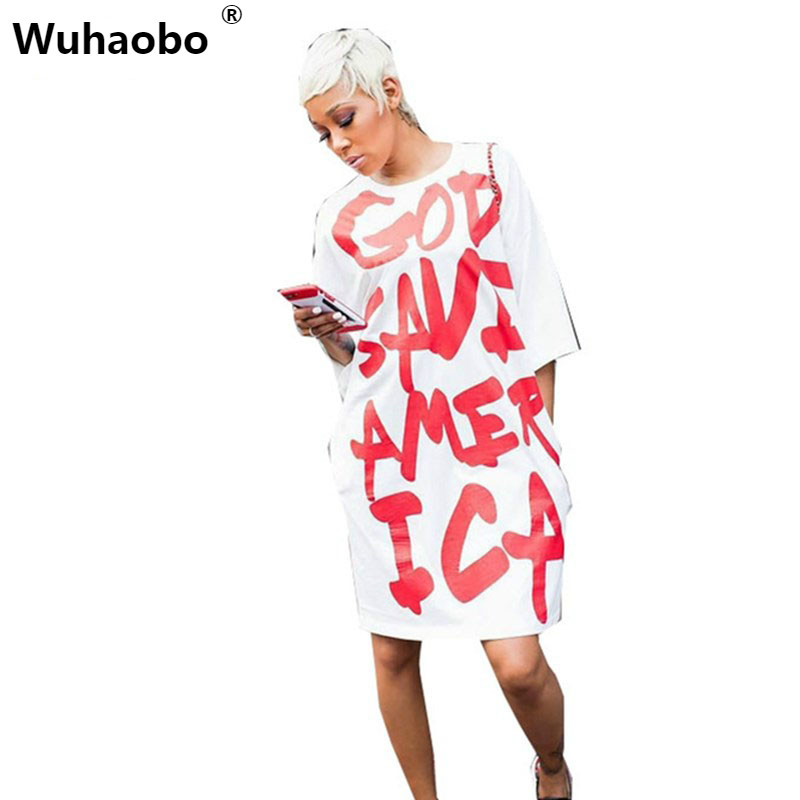 Wuhaobo Autumn American Style Special Women Dress NEW 2017 Casual Loose Streetwear Hip Hop Short Sleeve Letter T shirt Dresses