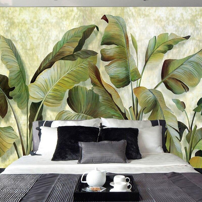 Custom Mural Wallpaper European Style Green Banana Leaf Oil Painting Canvas Home Decor Living Room Bedroom Modern Art Wallpaper