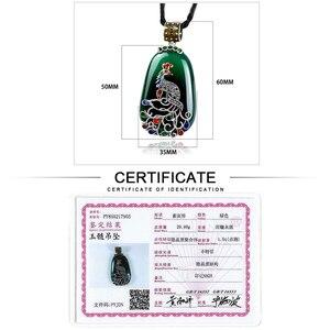 Image 5 - JIASHUNTAI בציר 100% 925 כסף סטרלינג רויאל טבעי אבנים טווס תליון שרשרת תכשיטי נשים רטרו