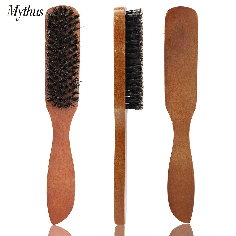 Portable Wood Handle Beard Brush Boar Bristle Men's Facial Mustache Comb Multifunctional Hair Teasing Comb Shaving Cleaning Tool