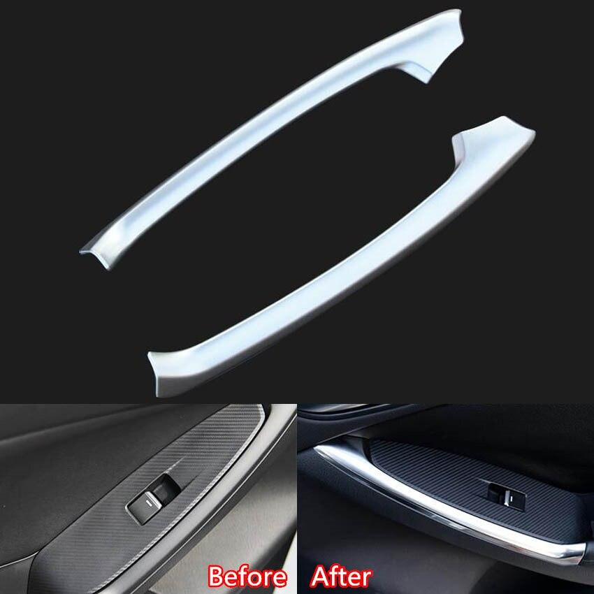 2PC Matt Chrome Interior Rear Door Armrest Cover Trim Mazda CX5 2013 2014 2015
