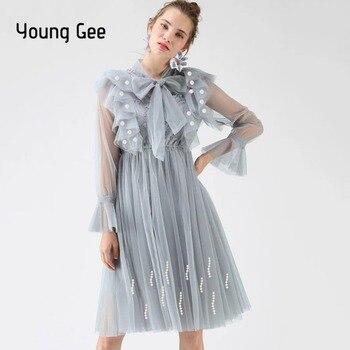 1c300f7f8d Joven vaya moda mujeres elegante encaje dulce Sexy vestido de fiesta de  princesa de hadas de primavera y verano cordón Vestidos mujer