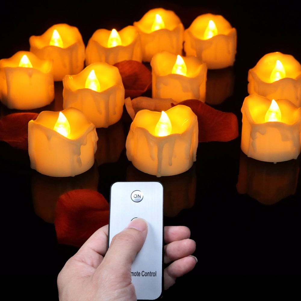 (12 pieces) Small Flickering Decorative Candles With Remote Control,Yellow Red Bright Fake Tea Lights For Birthday,Love