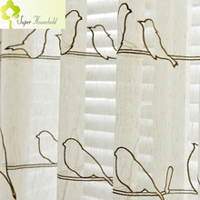 Pastoral Tulle Curtains for Living Room Birds Embroidered Children's Curtains for Bedroom Linen Kitchen Curtain on the windows
