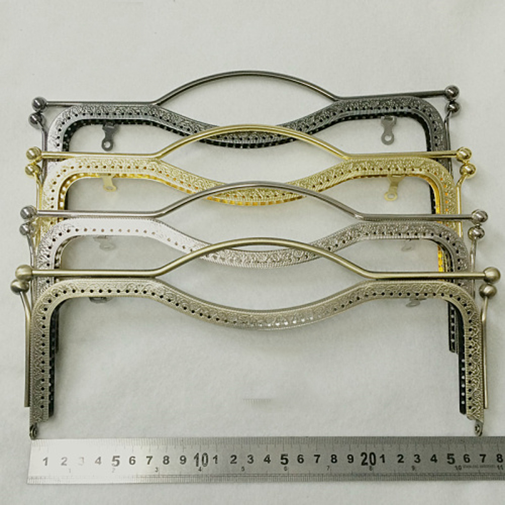 27cm Women DIY Big Size  Hand Bag Making Kiss Buckle Metal Clasp Knurling Purse Frame 2pcs/lot