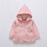 BibiCola Baby Girls Clothes Coat Spring Autumn Children Girls Cotoon Coat Kids Jackets Flower Leisure Style