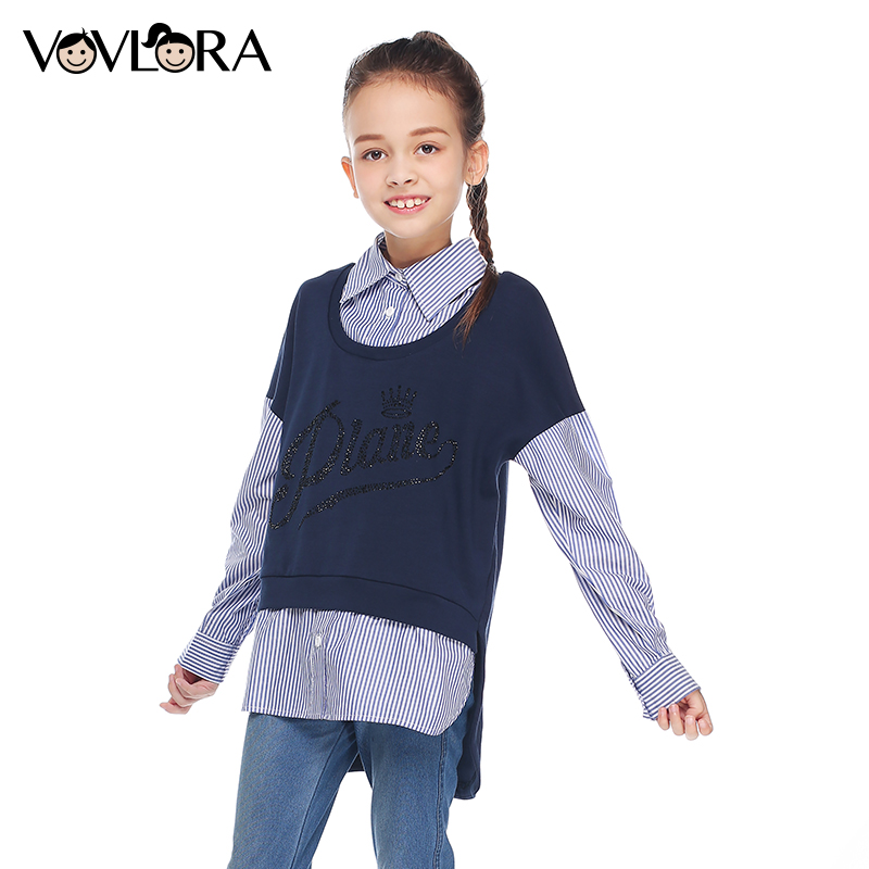 Girls blouse kids tops long sleeve cotton letter turn-down collar patchwork autumn blouses for girls 2017 size 9 10 11 12 13 14Y girl children floral blouse shirt spring autumn long sleeve doll collar girls thin chiffon blouses tops for teen 13 14 15y fb300