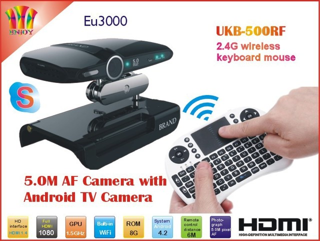 New! 5.0MP and Mic Android TV camera HDMI 1080P 1GB/8GB android 4.2 skype Google Android TV box EU3000 + UKB_500RF Fly Air Mouse