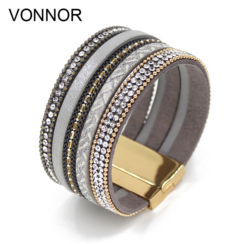 VONNOR Jewelry Bracelets for Women Multilayer Leather Rope Rhinestone Chain Bangles Bracelets Luxury Female Jewelry