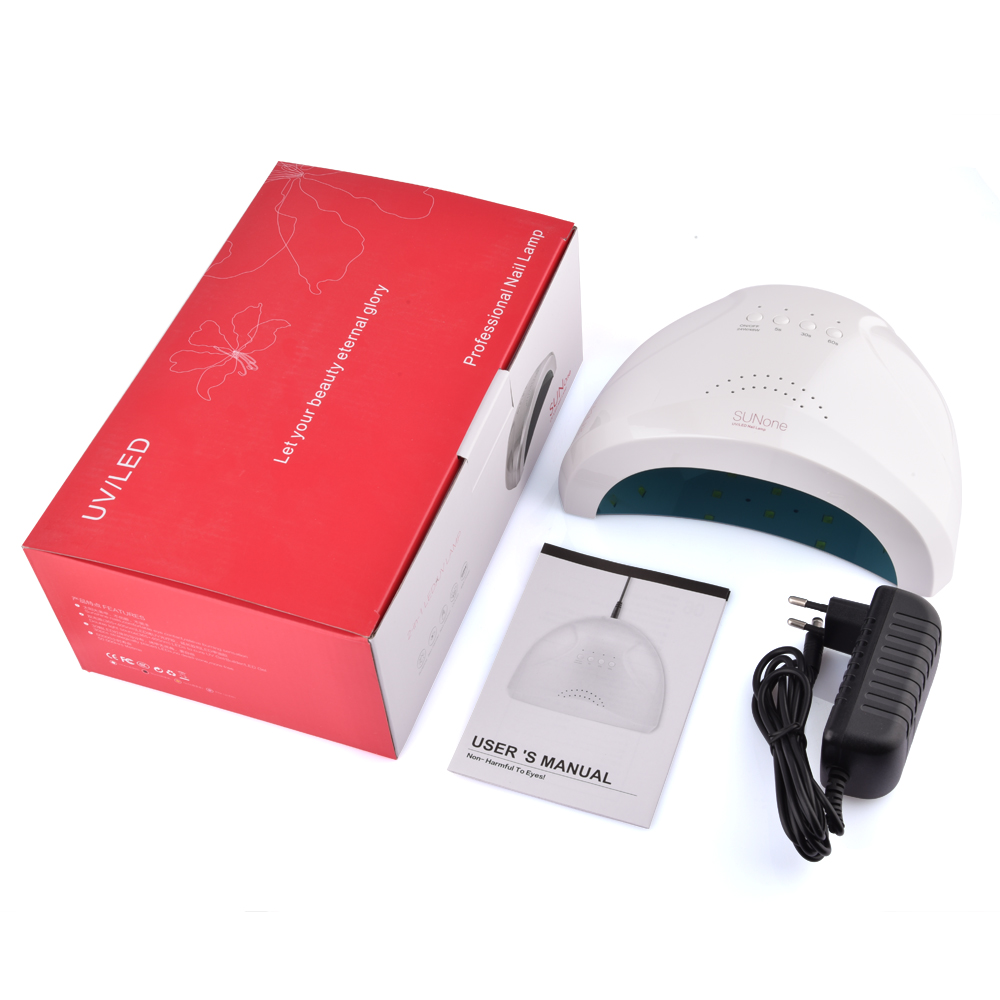 48W 24W Nail Dryer SUNone Dual Power White Light UV LED Lamp Polish Gel Fast Curing Paint Art Manicure Salon Beauty Home Tool