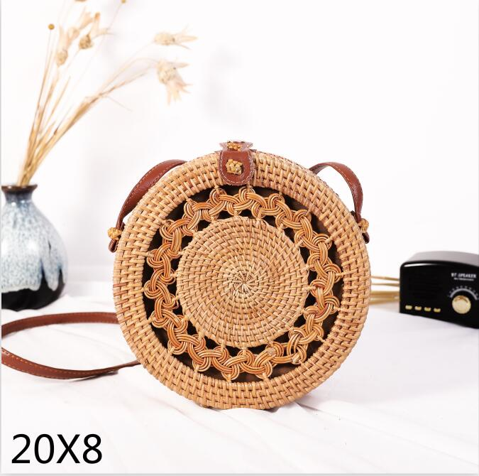 Woven Rattan Bag Round Straw Shoulder Bag Small Beach HandBags Women Summer Hollow Handmade Messenger Crossbody Bags 23