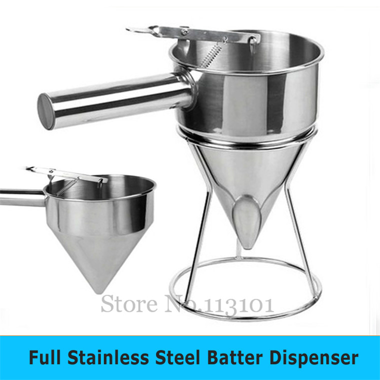 Stainless Steel Batter Dispenser with Holder Kitchenware Food Tool Mix Distributor Waffle Tool stainless steel batter dispenser food tool takoyaki dispenser hopper kitchen appliance for taiyaki waffle making