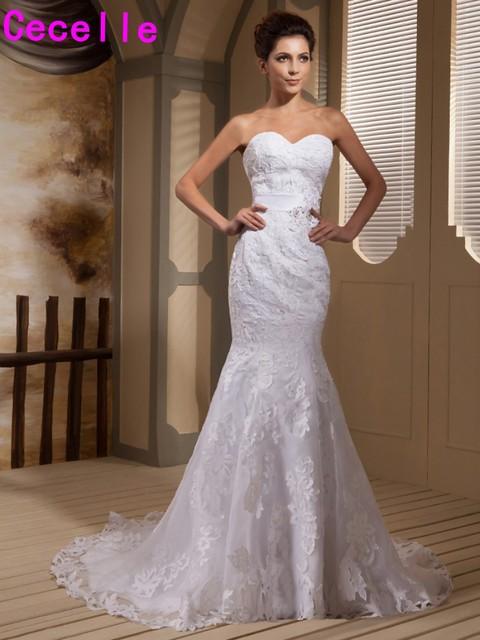 Real 2017 Vintage Mermaid Lace Sweetheart Wedding Dresses Bridal ...