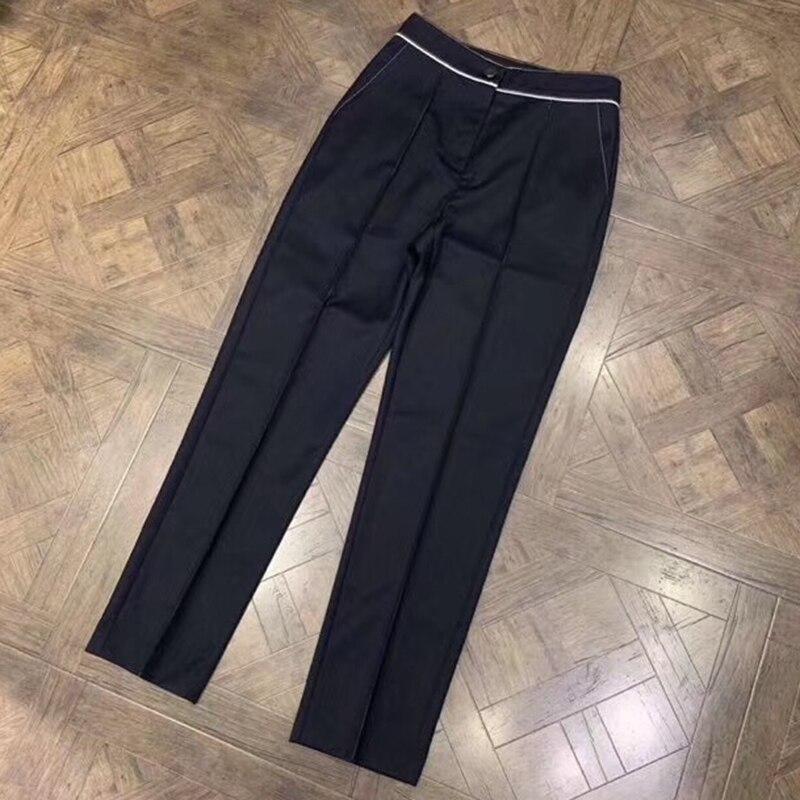 Femmes pantalons pour travail cheville-longueur pantalons femmes marque pantalon avec boutons 2019 haute qualité laine pantalons femmes mode pantalons décontracté