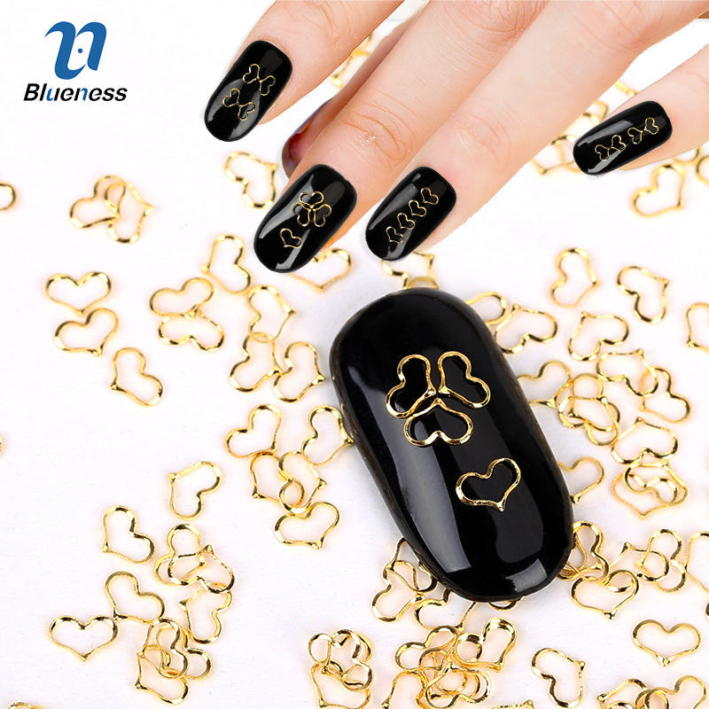 Blueness 1000pcs/pack Heart Design Gold Silver Nail Art 3d Metal Decorations Alloy Nail Charms Rhinestone Studs DIY Manicure blueness 1000 pcs s gold silver copper studs for nails glitter metal scrub design charms 3d decorations nail art pj495 521