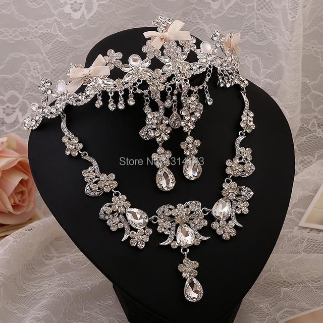 Silver plated jewelry wholesale bridal jewelry necklace three-piece wholesale rhinestone jewelry sets tiaras necklace kls34