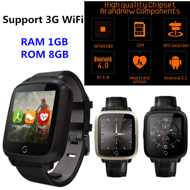 2017 Best Smart watch Android 5.1 MTK6580 Quad Core 1G RAM 8GB ROM Smartwatch support 2G 3G GPS WiFi Heart Rate Monitor pk LEM5 2017 new finow x5 air smart watch android 5 1 2gb 16gb wifi 3g gps heart rate monitor bluetooth 4 0 smartwatches pk lem5 watch