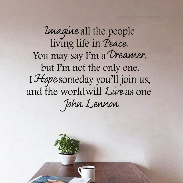 Free Shipping Ebay Hot Selling John Lennon IMAGINE Vinyl Wall Peace Quote Decal Letteringm2012