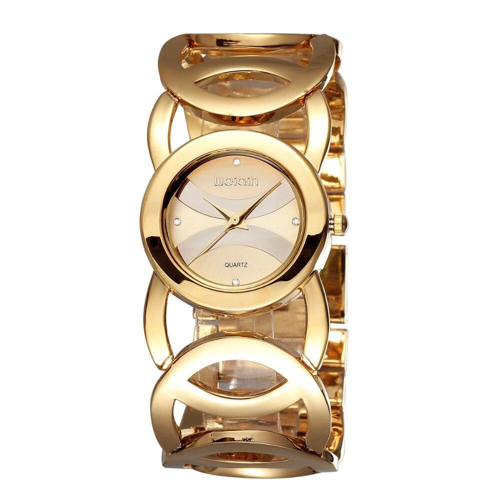 WEIQIN de Hardlex de oro espejo correa de las mujeres relojes de pulsera de la cáscara colorida plaza Dial reloj de moda mujer Relogio femenino