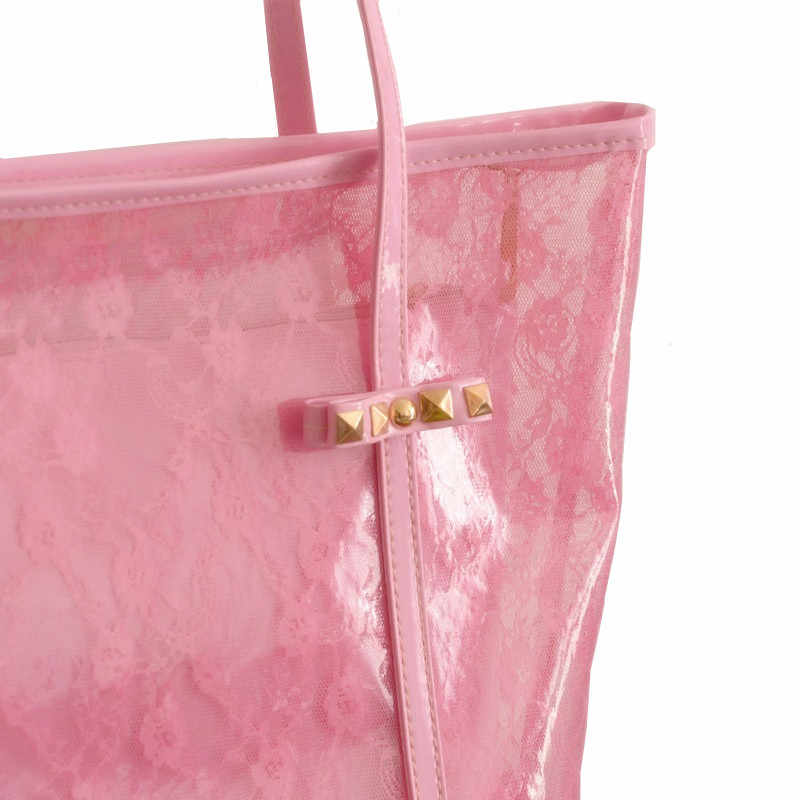 Natação Saco De Praia de Plástico De Armazenamento Tote Bolsas Mulheres Listra da Impressão do PVC Transparente Bolsa Saco de Lavagem Banho de Praia