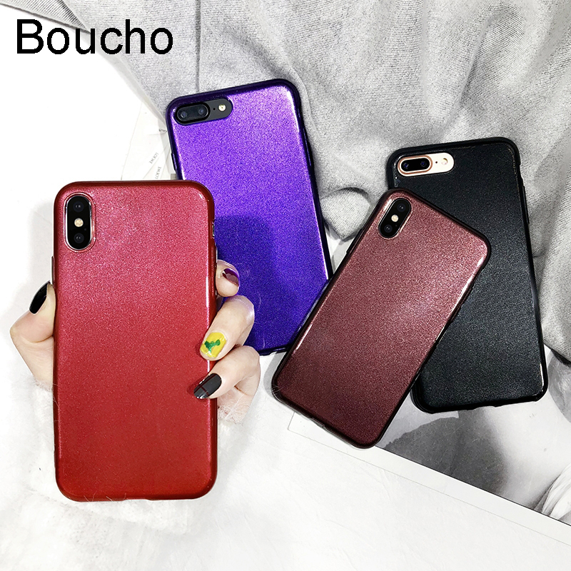 Boucho Solid Color Phone Case For iphone 6 6S 7 8 Plus X Cases Fashion Soft Glitter Powder