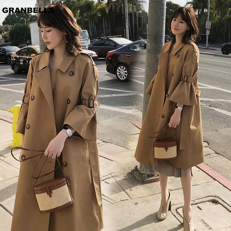 Khaki Color Luxury ladies Long Women's   trench   windbreaker abrigo mujer femme printemps 2019 new double breasted outwear