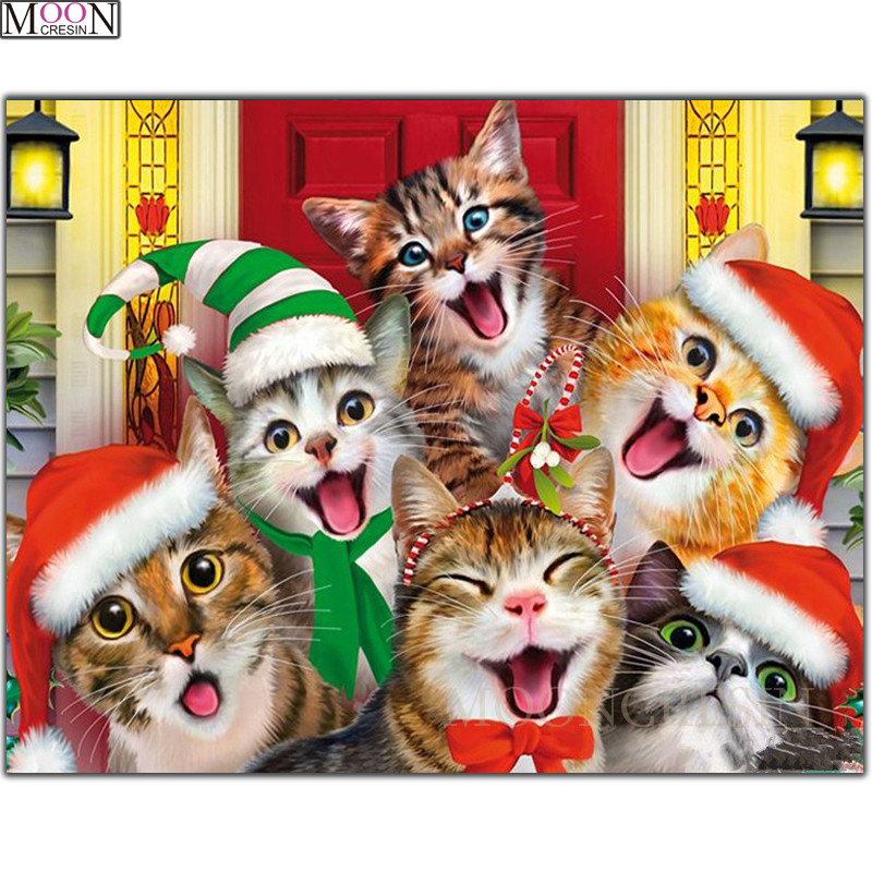 DIY 3D Diamond Painting Cross Christmas Cats Happy Diamond Embroidery Square Drill Diamond Mosaic Decoration Rhinestones Cartoon in Diamond Painting Cross Stitch from Home Garden