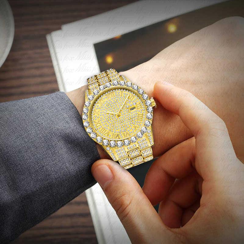 MISSFOX גברים של שעון 2020 למעלה מכירת יוקרה מותג זהב גברים אופנה שעונים גברים גדול יהלומי צמיד יוקרה שעון גברים אריזת מתנה