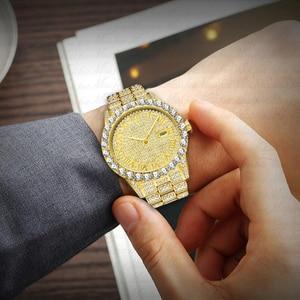 Image 4 - Missfox relógio masculino 2020 mais vendido marca de luxo ouro masculino moda relógios masculino grande pulseira de diamante relógio de luxo masculino caixa de presente
